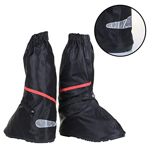 Waterproof Anti Slip Motorcycle Boots Cover for Men Size 7-8 Women 8.5-9.5 with Sturdy Zipper Elastic Bands Reflective Heels and Red Line - Suitable for Cycling Bike Riding - Black