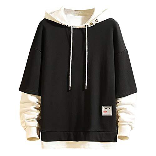 iLOOSKR Winter Men Patchwork Solid Hooded Sweatshirt Long Sleeve Pullover Top Black