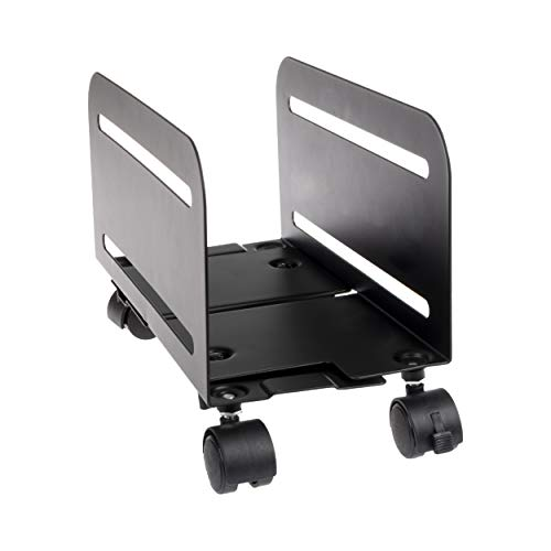 PC Computer Tower Stand with Wheels - Mobile CPU Holder Cart for Desktop
