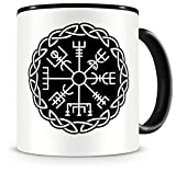 Samunshi® Vegvisir mit Knoten B Tasse Kaffeetasse Teetasse Vikinger Wikinger Germanen schwarz 300ml