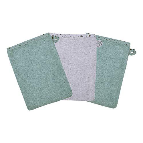 Wörner Lot de 3 gants de toilette 15 x 21 cm gant de toilette bébé, bleu glacier