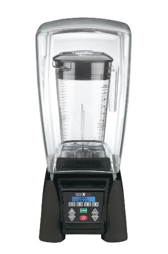 Waring Commercial B00BHQSR6U MX1500XTX Reprogrammable Hi-Power Blender with Sound Enclosure and Raptor Copolyester Container, 64-Ounce, Black