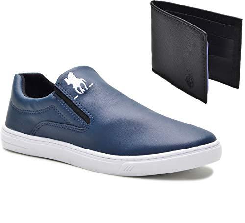 Tênis Slip On Casual Polo Plus Masculino Extra Macio + Carteira Cor:Azul;Tamanho:42