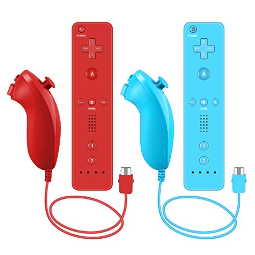 Remote Controller and Nunchuck Controller Compatible for Nintendo Wii and Wii U Controller,Crifeir 2Pack Wireless Remote and Nunchuck Controller with Silicone Case and Wrist Strap (Red and Blue)