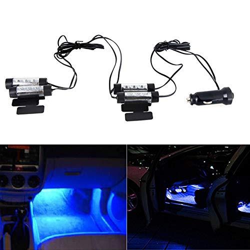 KKmoon LED-Lampe für atmosphärische Licht, 3 LEDs, 12V, blaues Licht, für den Fahrzeuginnenraum, 4 Stück