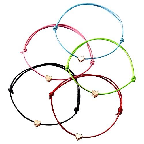 Xihuimay Juego de 5 pulseras amistad con dije corazón pulsera eslabones y hilo cera pulsera hecha a mano para regalo aniversario familiar pulsera de promesa para hombres y mujeres, varios colores