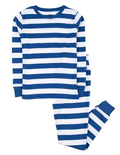 Leveret Kids Boys Striped 2 Piece Pajama Set 100% Cotton (4 Toddler, Blue & White)