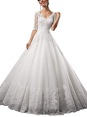 CGown Damen V-Ausschnitt Spitze Hochzeitskleider für Braut mit halben Ärmeln Zug Tüll Applikation Strand Brautkleid Gr. 22 W, elfenbeinfarben