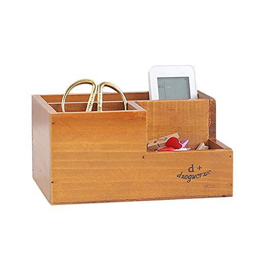 IWILCS Organizador de escritorio de madera, para oficina, escritorio, organizador de bolígrafos, organizador de mesa, para tarjetas de visita, bolígrafos, mando a distancia, cubiertos, oficina
