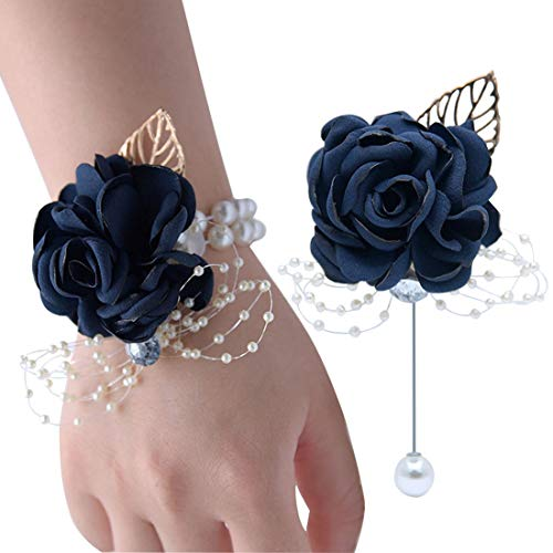 Wrist Corsage Rose Flower Brooch for Wedding Party Prom Wristband Flower Set (Navy)
