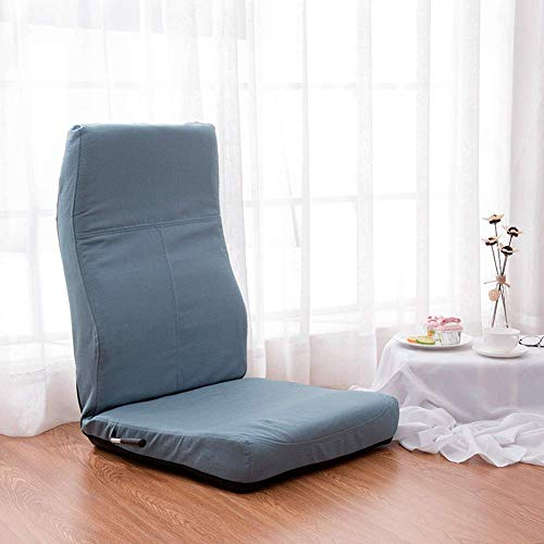 YLCJ Adjustable 5-Angle Padded Floor Game Seat Back Support Floor Reclining Folding Chair for Meditation Reading Viewing-Bluelake