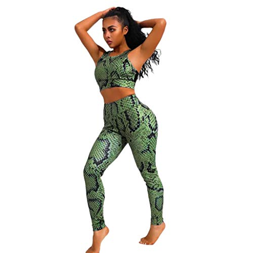 Women Light Green Snake Pattern Suit Fashion Sexy Feet Yoga Pants