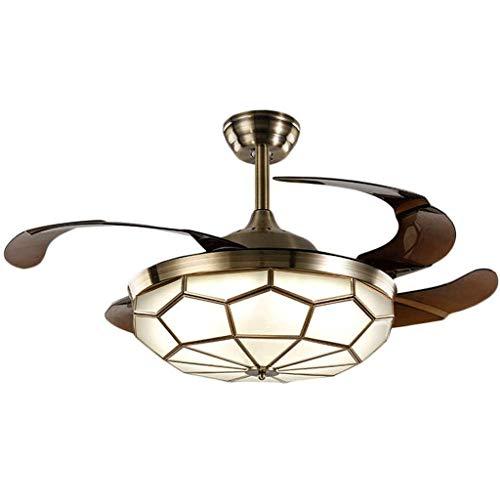 CHNOI Ventilador de Techo Invisible de luz de la lámpara de Cobre Restaurante Estilo Europeo Simple Luz Ventilador Dormitorio de la lámpara de la Sala Invisible Ventilador Luz