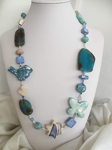 Collana Donna in pietre dure, ceramica e argento