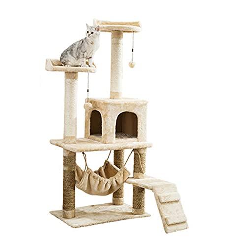 Árbol para gatos moderno para gatos, torre para gatos súper estable, condominio para gatos de varios niveles con hamaca y postes rascadores para gatitos, soporte de escalada para gatos alto con perc