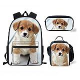 FOR U DESIGNS Kawaii Pet Corgi Dog Print Kids Boys School Backpack Lunch Food Bags Pencil Holder
