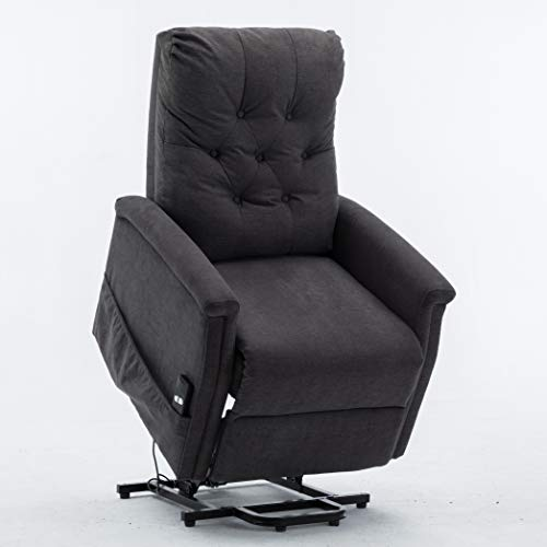EBELLO Power Lift Chair Assist Recliner for Elderly-Electric Large Lift Recliner Chair with Remote Control, Tall Electric Reclining Sofa, Living Room Home Theater Chair Soft Fabric Lounge,Dark Grey