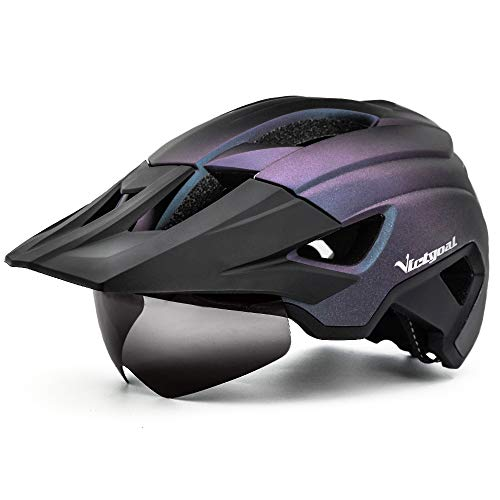 Victgoal Bike Helmet for Men Women Adults with Magnetic Goggles and Sun Visor Bicycle Helmet MTB Mountain Road Cycle Helmet with Rechargeable Rear Light (Purple Black)