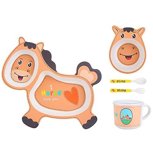 Cuasting Juego de vajilla para bebé, diseño de dibujos animados para niños, plato de fibra de bambú, vajilla con cuenco, tenedor, taza, cuchara y plato de 5 piezas