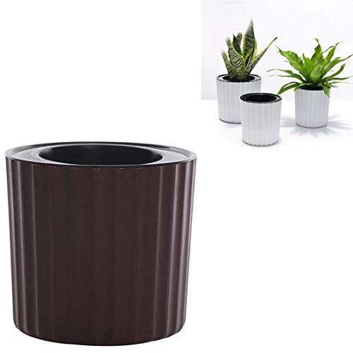 Plant Bloem Pot Automatische Water Zuig Zuigstoffen Hydroponische Potten Cilindrische Driedimensionale Strepen Kunststof Bloempot, Buiten Diameter: 12cm(Koffie) Geschikt voor Alle Planten Bloempot Koffie