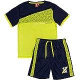 ALPHADVENTURE Go&Win Conjunto Deportivo Manga Corta Amarillo Fluor y Navy Aberdeen Jr Para Niño (numeric_140)