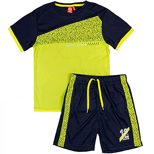 ALPHADVENTURE Go&Win Conjunto Deportivo Manga Corta Amarillo Fluor y Navy Aberdeen Jr...