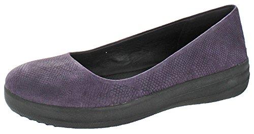FitFlop Women's Ballet Flats, Purple Deep Plum Snake Embossed, 38