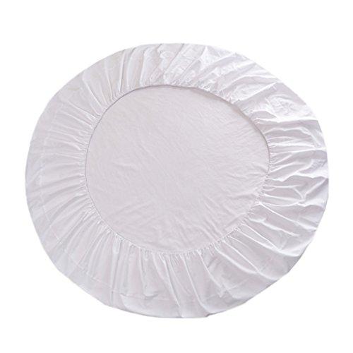 HomeDecTime 220cm Spannbettlaken rund Bettlaken für Rundbett - Weiß