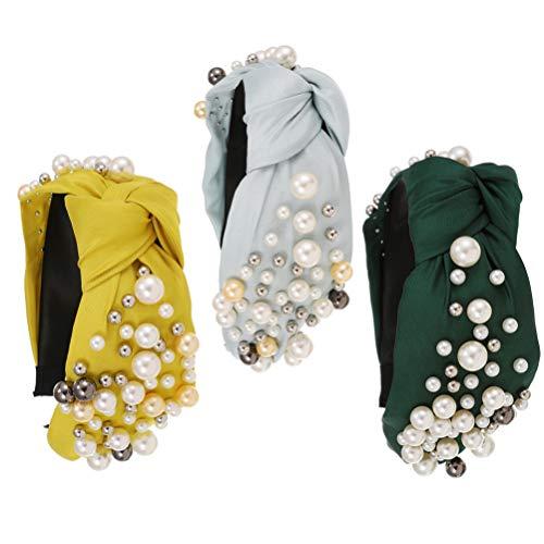 PIXNOR 3 Piezas Trenzadas Entrecruzadas Cruz Bowknot Diademas de Perlas Elásticas Anudadas Cinta de Cabeza