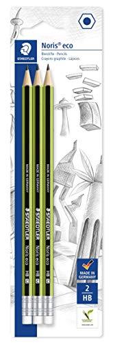 STAEDTLER Bleistift Noris eco mit Radiertip, hohe Bruchfestigkeit, rutschfeste Soft-Oberfläche, Wopex-Material, Härtegrad HB, Blisterkarte mit 3 Stück, 18230HBBK3
