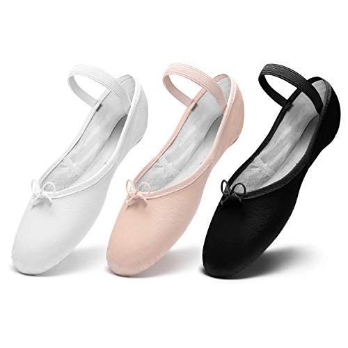 DWS 1003 Ballett Ballerina Tanz Gymnastik Sport Hallen Trainings Schläppchen Schuhe Leder Kinder Damen Mittlere Weite Rosa, Weiß und Schwarz, 33 EU, Weiß