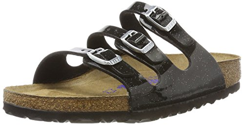 BIRKENSTOCK Damen Florida Birko-Flor Softfootbed Pantoletten, Schwarz (Magic Galaxy Black), 36 EU