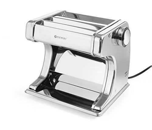 HENDI Pastamaschine, Elektrisch, für die Zubereitung von frischer pasta, Teigroller, Tagliatelle, Fettucine, Breite des Teigs bis zu 140mm, 7 stufig einstellbar 0,2-2,5mm, 258x218x(H)232mm, Edelstahl