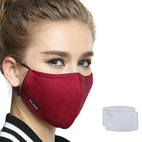 Reusable Face Mouth Mask with 2 Filters, Washable Face Mask,Anti Dust Anti-Haze Cotton Mask Breathable for Cycling Camping Running Travel Women Red …