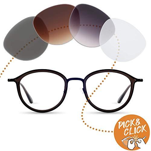 Sym Runde Brille mit Sehstärke von -4,00 bis +4,00 mit auswechselbaren Gläsern in 6 Farben für Kurzsichtigkeit und Weitsichtigkeit - Damen & Herren (Unisex) - Kiez Kollektion Modell Ziggy schwarz