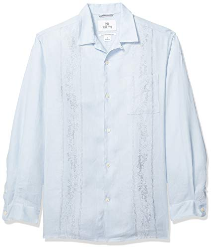 Marca Amazon – 28 Palms – Camisa guayabera bordada de
