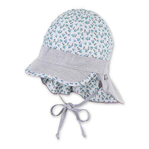 Sterntaler Baby-Jungen Schirmmütze Bindebändern, Nackenschutz und Muster mit Segelboot-und Anker-Motiven Mütze, Türkis (Türkis 435), (Herstellergröße: 43)