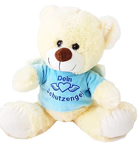 Unbekannt 1 x Bärchen mit Shirt Dein Schutzengel, ca. 40 cm, Teddybär, Teddy, Plüsch (hellblau)