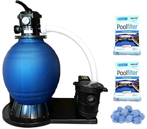 Well2wellness Zwembad Sandfilter Systeem Zwembad Filter D450 - Pomp Power Max. 14.400 L/H + 2 x 350g Filter Materiaal Fibalon Pool