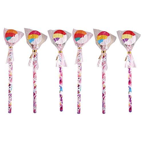 6 x Eenhoorns potloden met nieuwe gummetjes Toppers - Verschillende kleuren