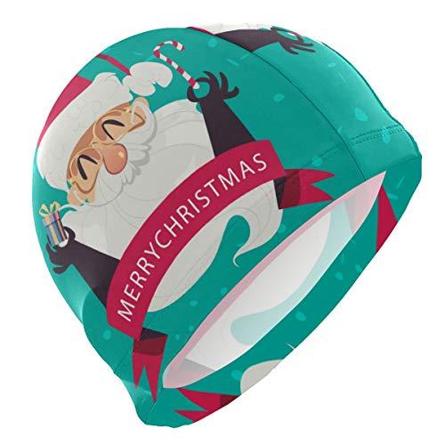 ALINLO - Cuffia Da Nuoto Con Divertente Babbo Natale E Bastoncino Di Zucchero, Impermeabile, Per Adulti E Ragazzi