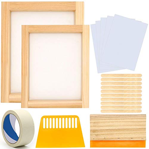 20 Pieces Screen Printing Starter Kit, Angela&Alex 10 x 14 Inch Wood Silk Screen Printing Frame White Mesh Screen Printing Squeegees Inkjet Transparency Film and Mask Tape