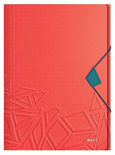Leitz Urban Chic Eckspannermappe für bis zu 150 Blatt in A4 Format, Gummibandverschluss, Kunststoff, Rot, 46490020