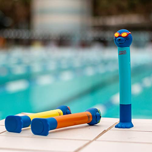 Zoggs Children's Zoggy Sinking Dive Sticks Pool Toy and Game, Blue/Lime/Orange, 3 Years + (Pack of 3)