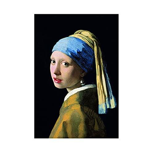 La ragazza con l'orecchino di perla di Jan Vermeer Dipinto su tela Ritratto Poster Stampe Wall Art Picture Living Room Decor 30x45cm (12x18in) senza cornice