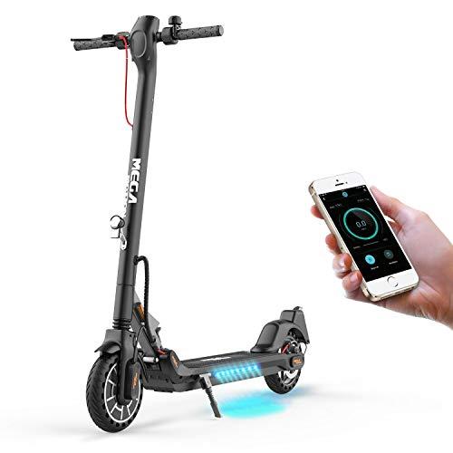 Mega Motion E- Scooter Portátil Patinete Eléctrico Plegable de 8.5 Pulgadas con Bluetooth, Velocidad de hasta 30 km/h, Pantalla LCD, Luces Traseras y Delanteras (Black)