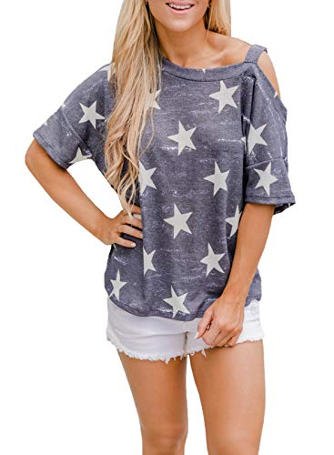 CORAFRITZ Camiseta de manga corta con estampado de estrellas para mujer