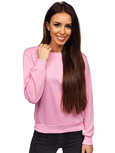 BOLF Damen Sweatshirt Pullover ohne Kapuze Basic Langarmshirt Top Baumwollmischung Pulli Rundhals-Ausschnitt Sweater Farbvarianten Sportlich Fitness J.Style W01 Rosa M [A1A] [OC]