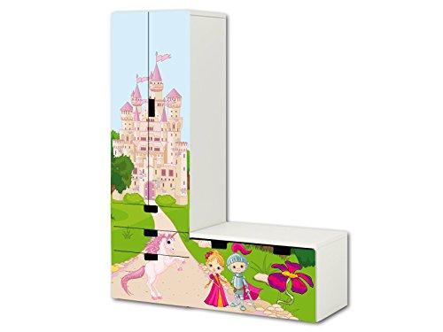 Mundo de cuentos pegatinas | SL14 | adecuado para la combinación de guarda STUVA de IKEA (forma de L) | Compuesto por armario, cómoda con 3 cajones y arcón de banco (mueble no incluido) STIKKIPIX