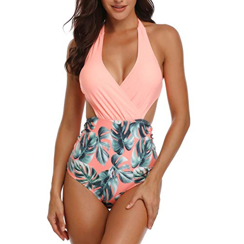 Misolin Damen Badeanzug Neckholder V-Ausschnitt Rückenfrei Einteiliger Bademode Bauchweg Cutouts Strandbikini, Rosa, XL (EU 44-46)